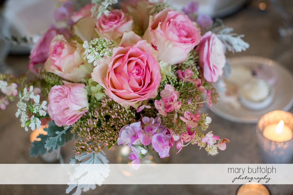 Close up shot of bouquet at the wedding reception at Skaneateles Country Club Wedding
