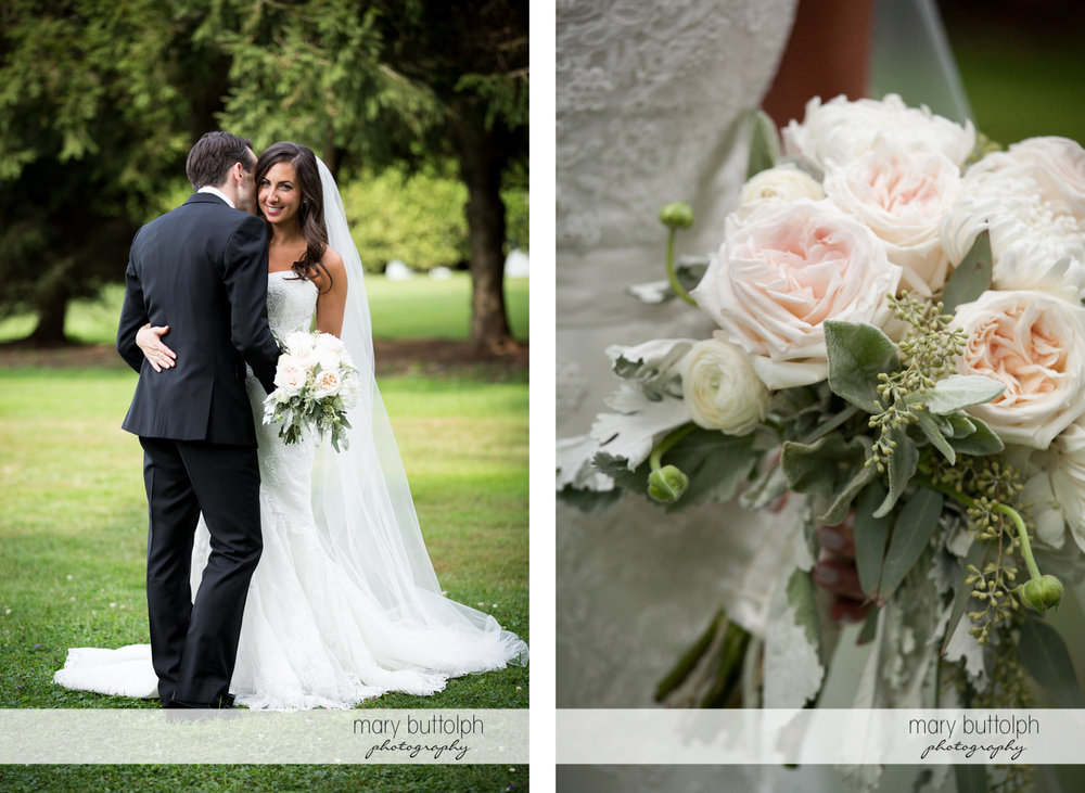 Couple embrace in the garden and a close up shot of the bride's bouquet at the Brewster Inn Wedding