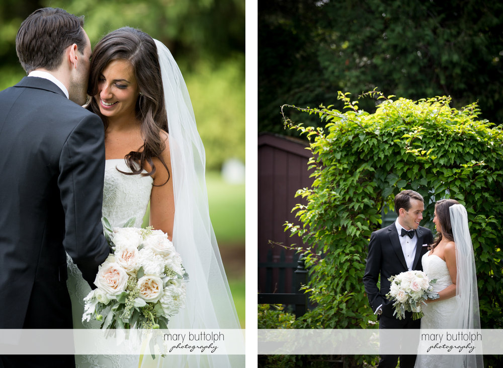 Two different shots of the same couple in the garden at the Brewster Inn Wedding