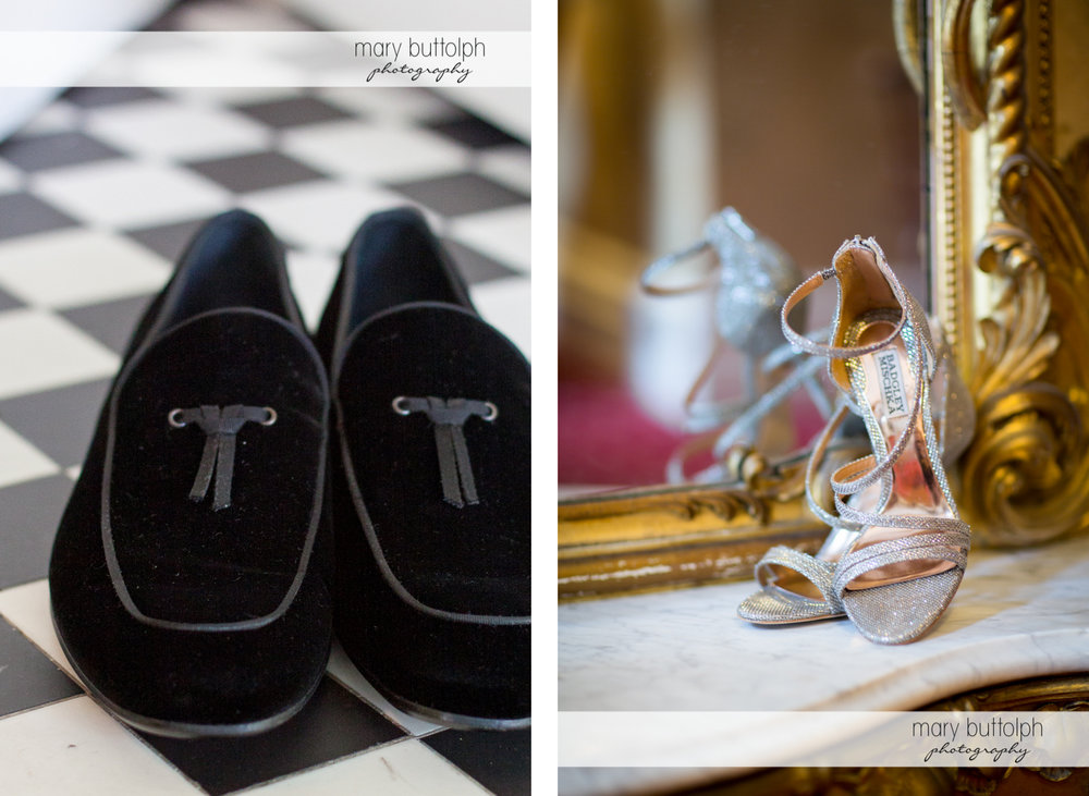 Couple wedding shoes at the Brewster Inn Wedding
