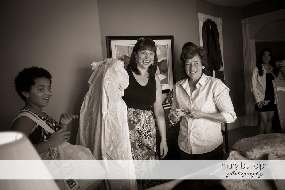 Guest share a good laugh at the Brewster Inn Wedding