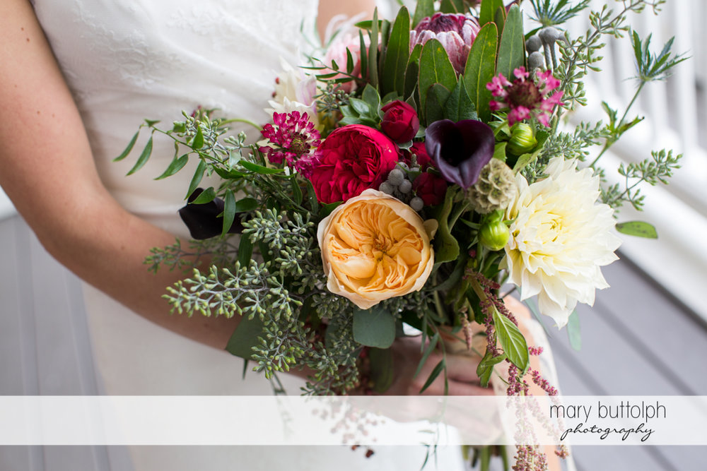 Close up shot of bride's beautiful bouquet at the Inns of Aurora Wedding