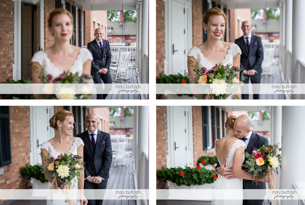 Four different shots of the couple on the porch at the Inns of Aurora Wedding