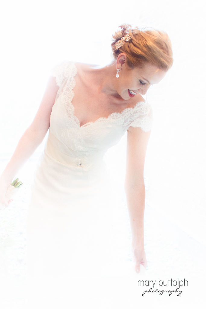 Bride is as white as snow at the Inns of Aurora Wedding