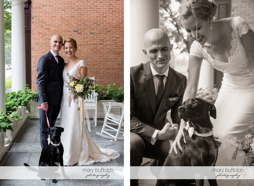 Couple pose with their pet dog at the Inns of Aurora Wedding