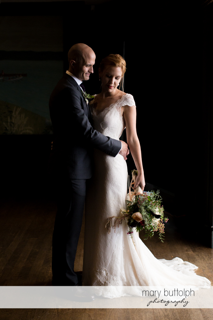 Couple in a dramatic shot at the Inns of Aurora Wedding