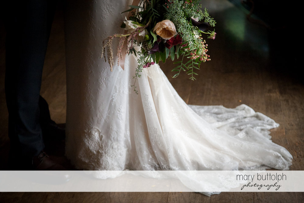 Close up shot of the bride's bouquet at the Inns of Aurora Wedding
