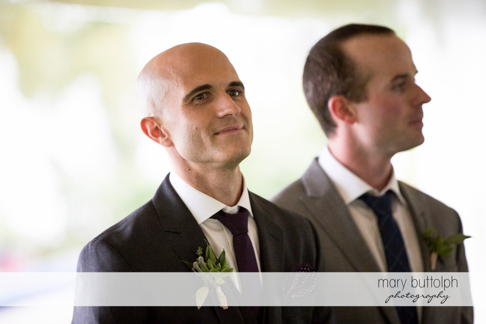 Groom and his best man prepare for the wedding at the Inns of Aurora Wedding