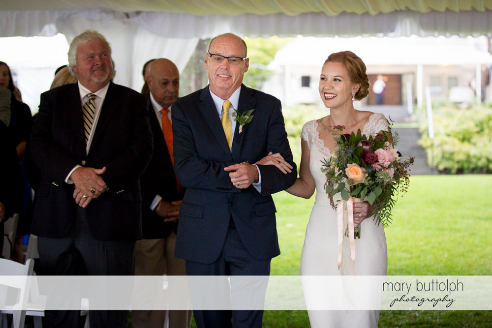 Bride and her father at the wedding tent at the Inns of Aurora Wedding