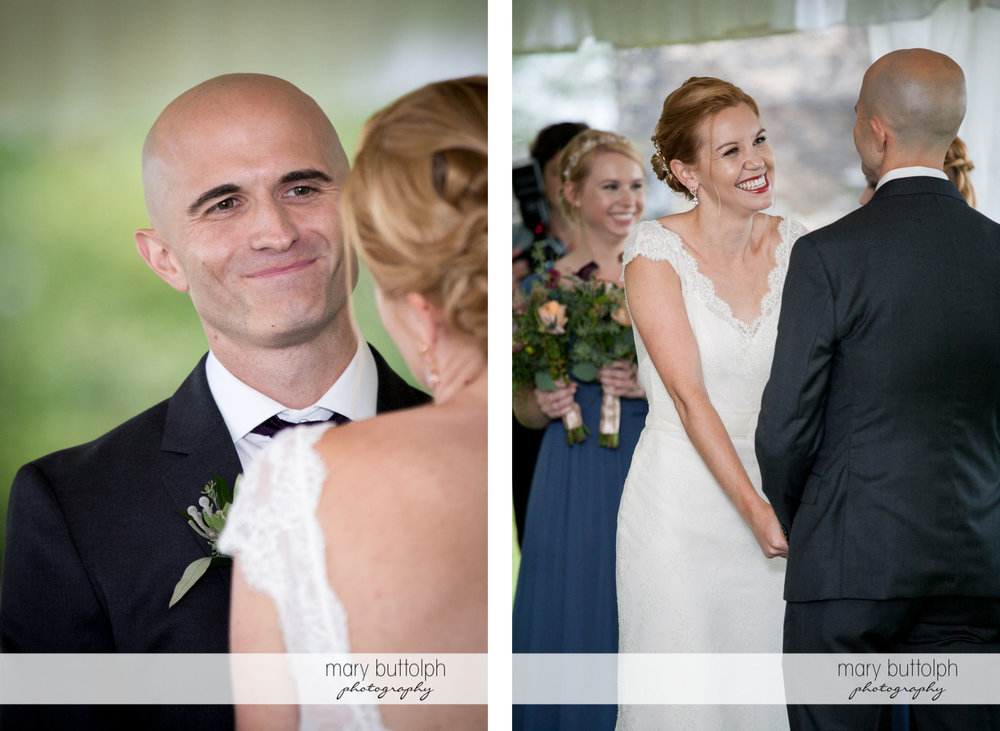 Couple smile at each other at the Inns of Aurora Wedding