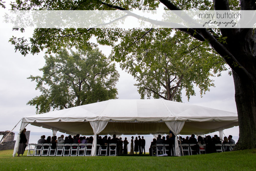 Guests fill the wedding tent at the Inns of Aurora Wedding