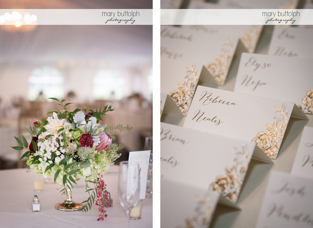Flowers decorate the table and close up of escort cards at the Inns of Aurora Wedding