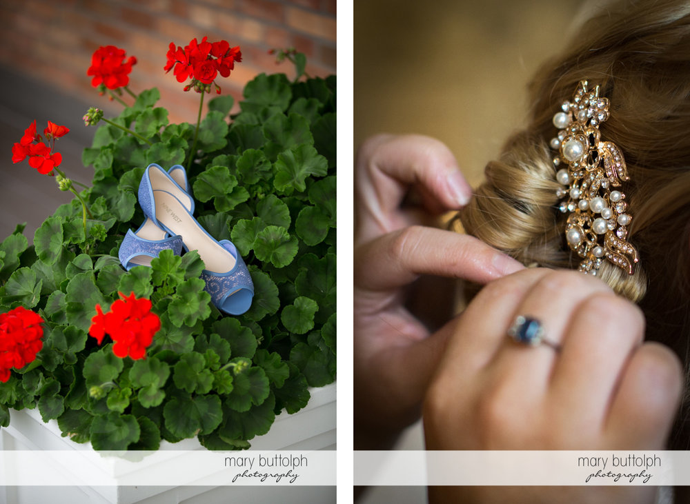 Bride's shoes on top of a planter and close up of her hair pin at the Inns of Aurora Wedding