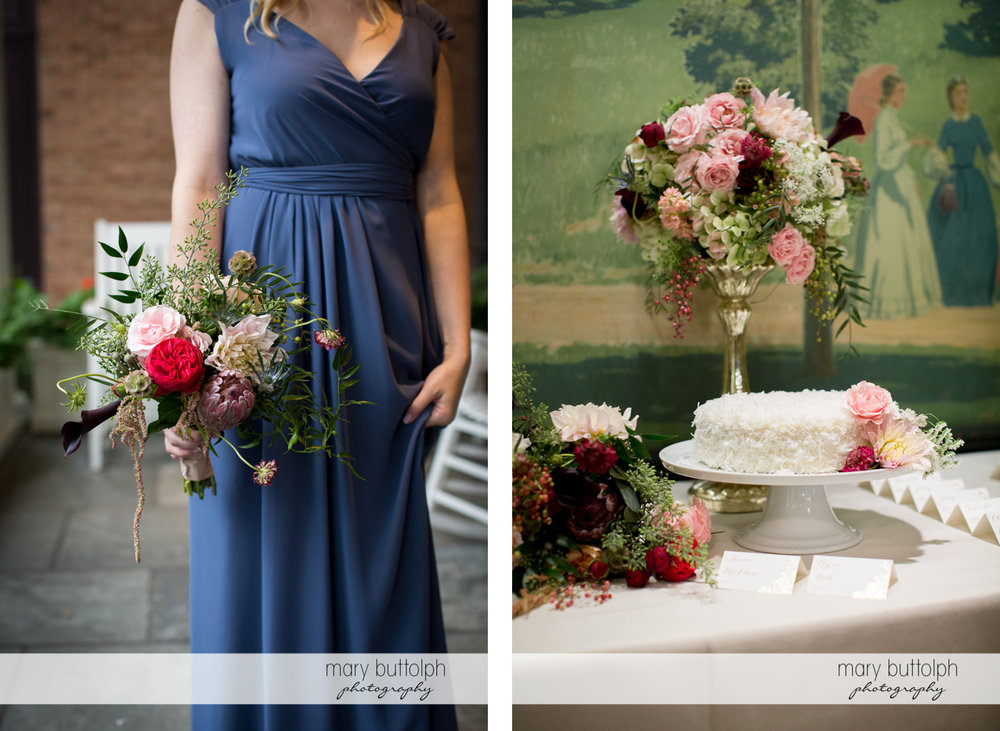 Bridesmaid holds a bouquet and flowers surround the the wedding cake at the Inns of Aurora Wedding
