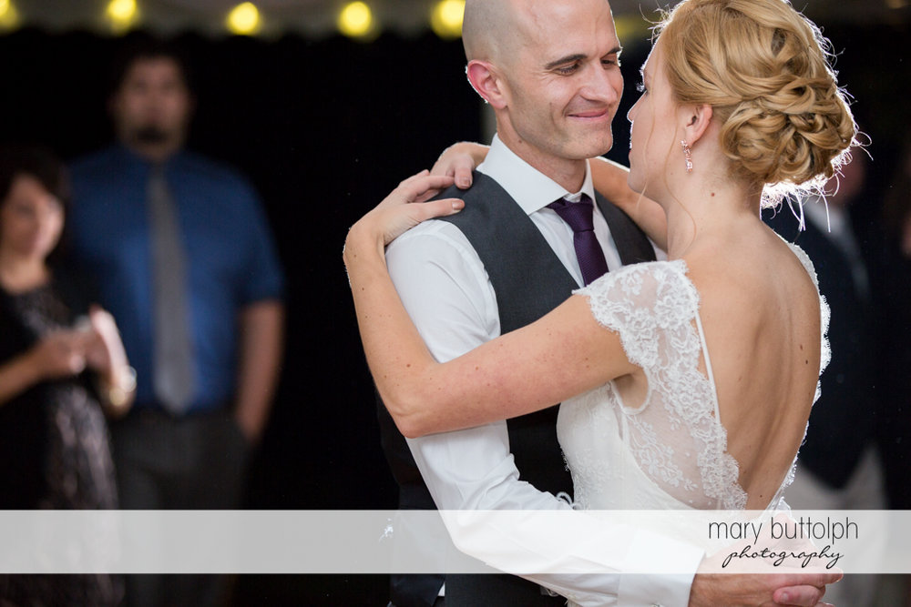 Couple dance at the Inns of Aurora Wedding