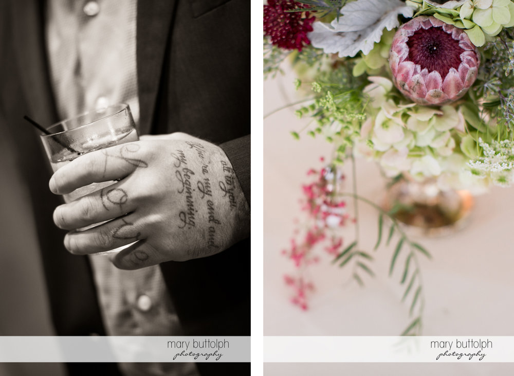 Close up shot of tattooed hand and flowers at the Inns of Aurora Wedding