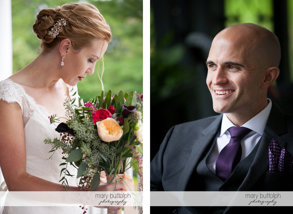Bride with bouquet and the groom at the Inns of Aurora Wedding