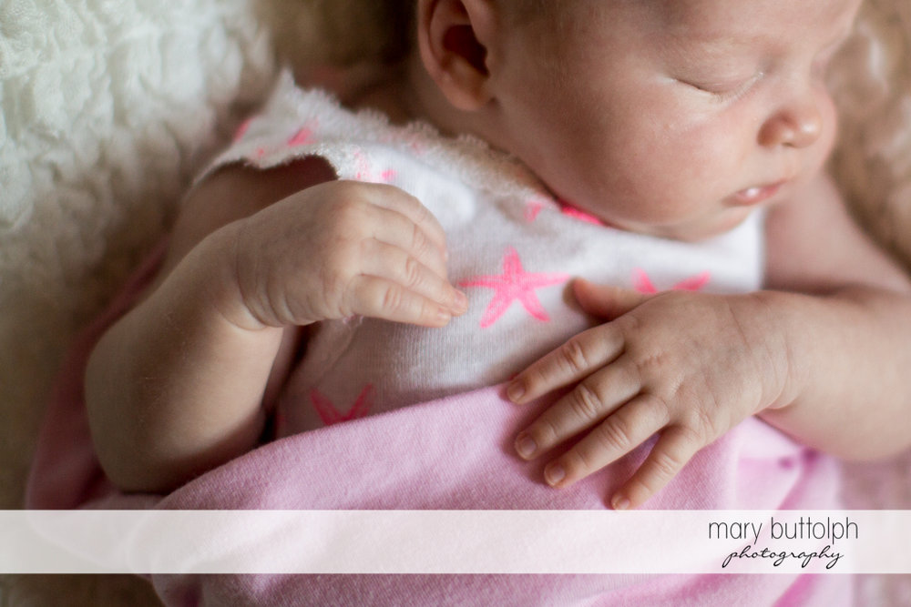 Close up of sleeping baby at Skaneateles Newborn