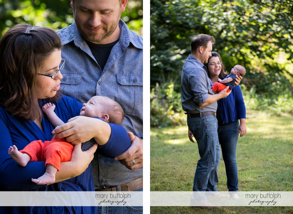 Couple bring their new baby to the garden at Skaneateles Newborn