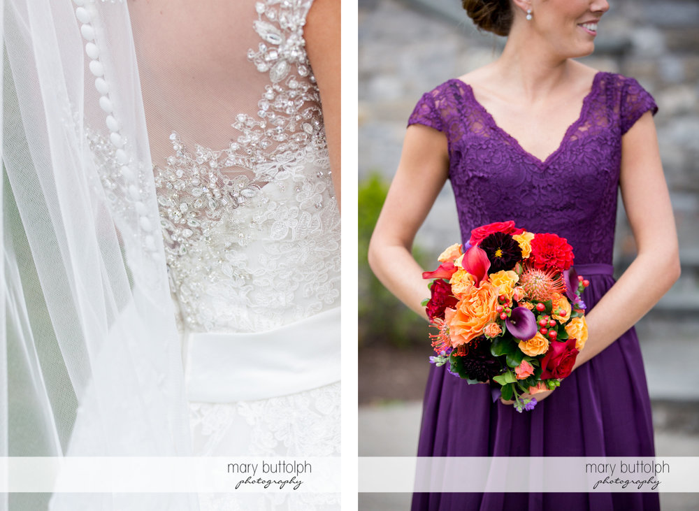 Close up shot of bride's wedding dress and holding a bouquet at Anyela's Vineyards Wedding