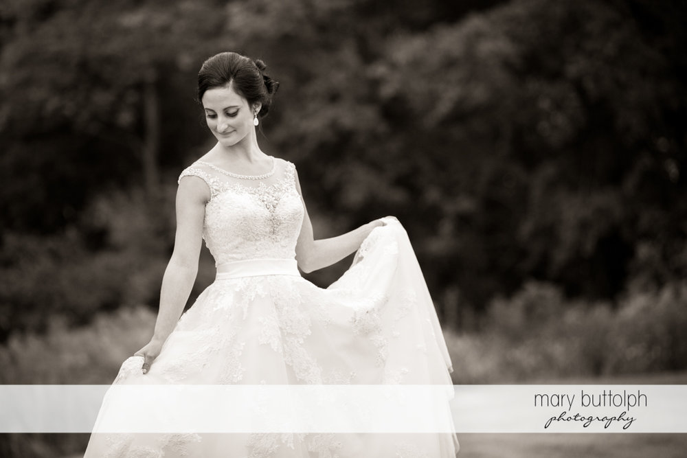 Bride in a great black and white shot at Anyela's Vineyards Wedding