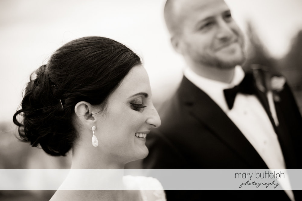 Happy couple in a black and white shot at Anyela's Vineyards Wedding