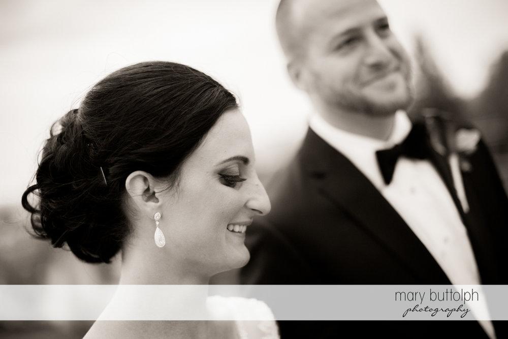 Happy couple in a black and white shot at Anyela's Vineyards Wedding