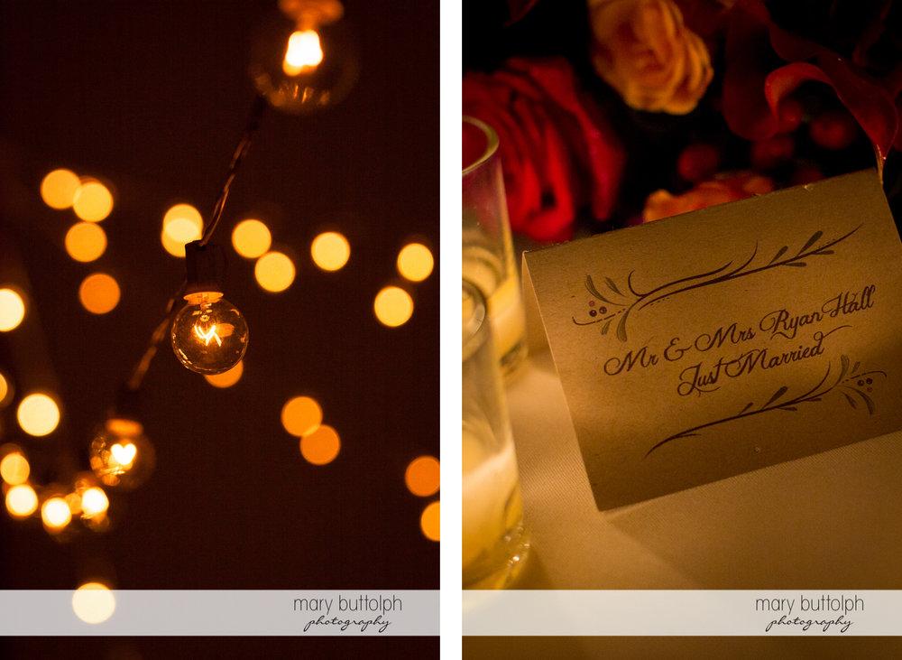 Close up shot of lights at the wedding reception and the couple's wedding invitation at Anyela's Vineyards Wedding