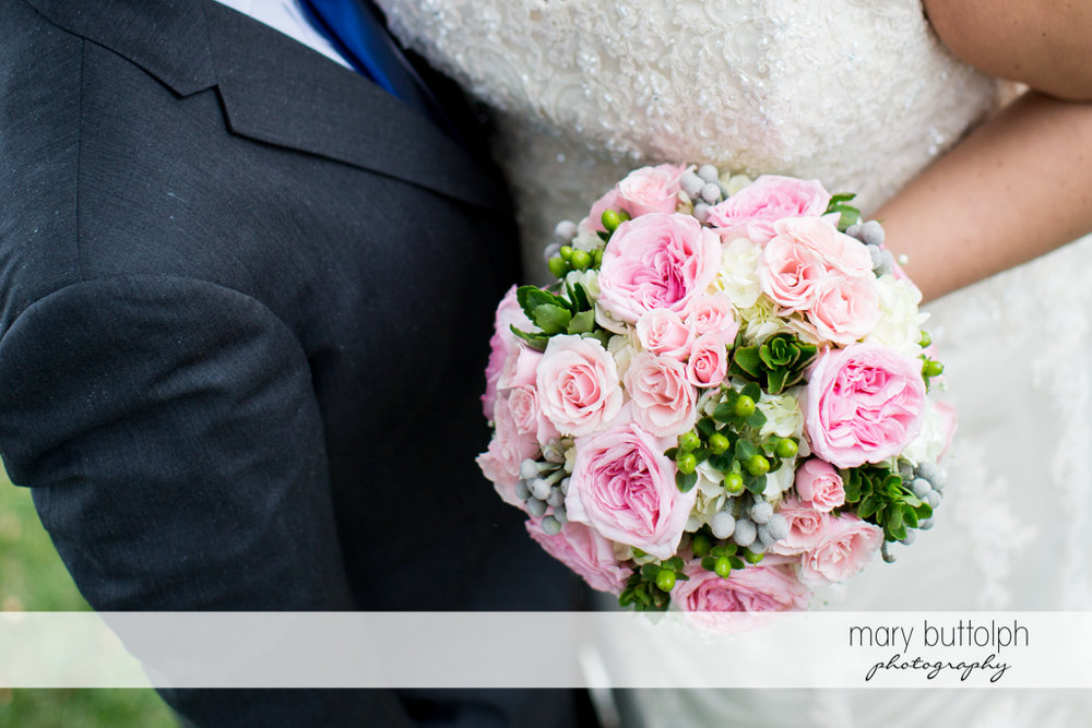 Close up shot of the bride's bouquet at the Lodge at Welch Allyn Wedding