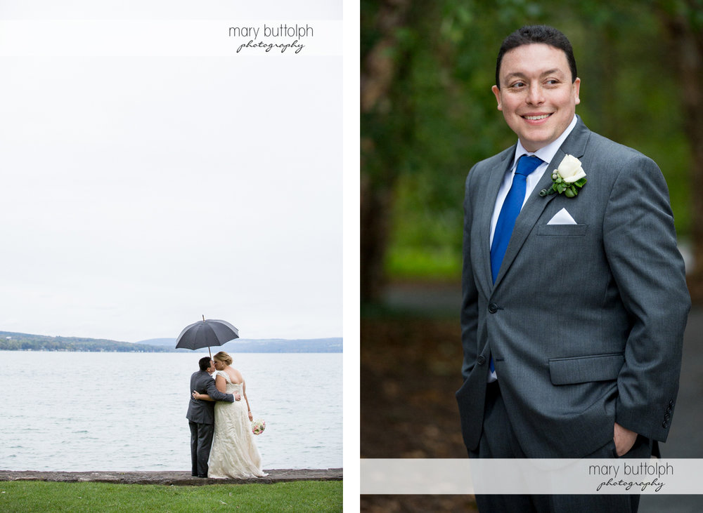 Couple with umbrella kiss in front of the lake and groom smiles for the camera at the Lodge at Welch Allyn Wedding
