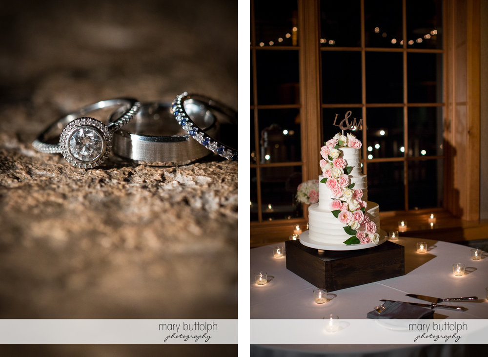 Close up shot of the bride's wedding ring and the wedding cake at the Lodge at Welch Allyn Wedding