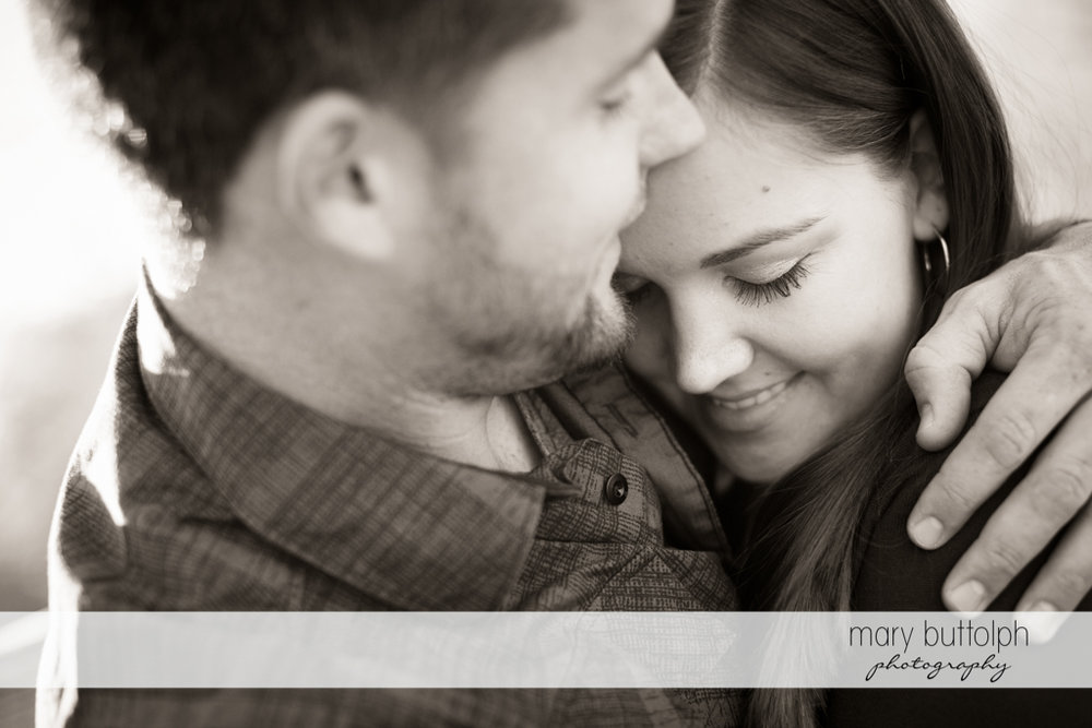 Couple in dramatic black and white shot at Geneva Engagement