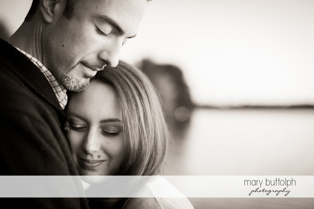 Couple in romantic black and white photo at Cazenovia Engagement