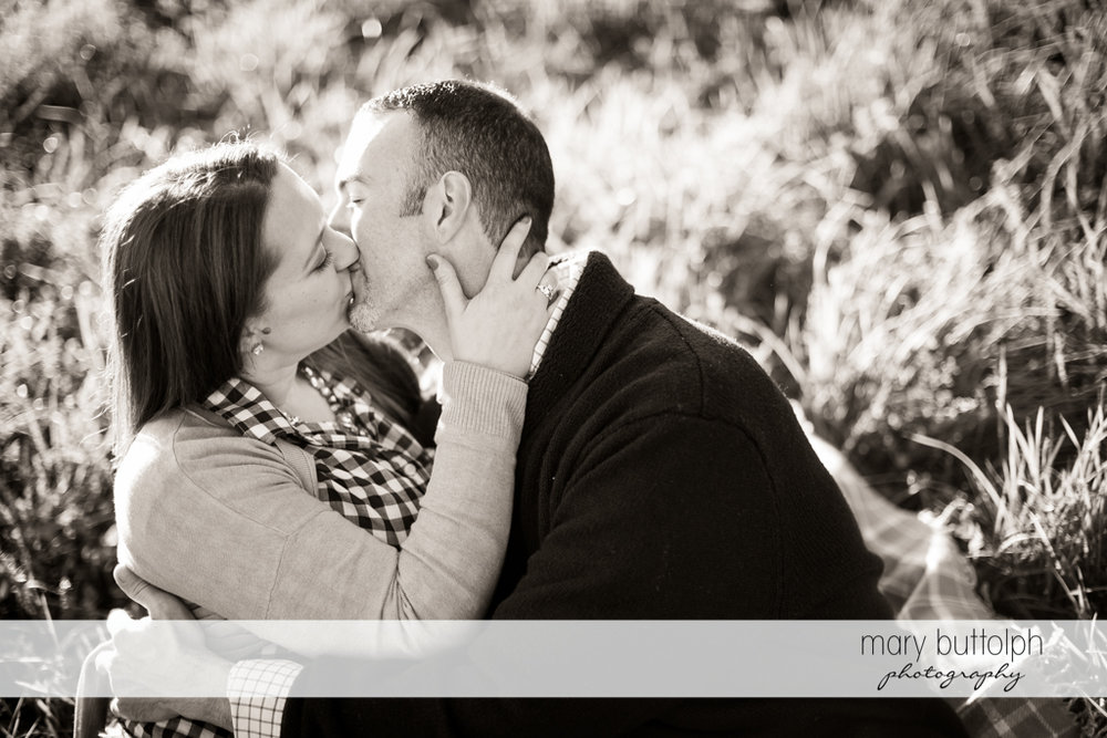 Couple kiss at the park at Cazenovia Engagement