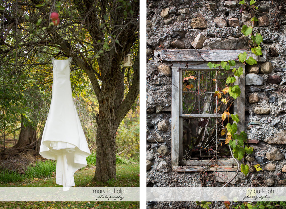 Bride's wedding dress hangs from a tree and close up shot of stone house window at Frog Pond Bed & Breakfast Wedding