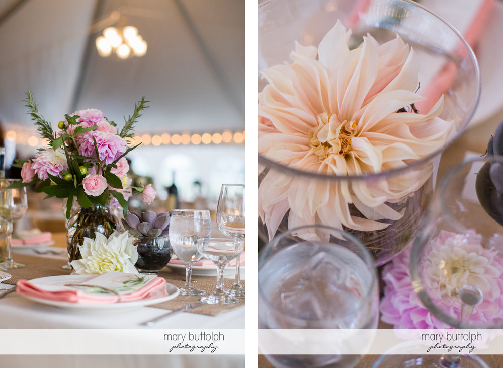 Beautiful flowers adorn the tables at the Frog Pond Bed & Breakfast Wedding