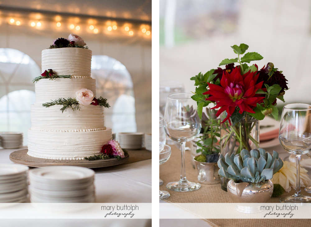 Couple's wedding cake and classy flower arrangements at the Frog Pond Bed & Breakfast Wedding