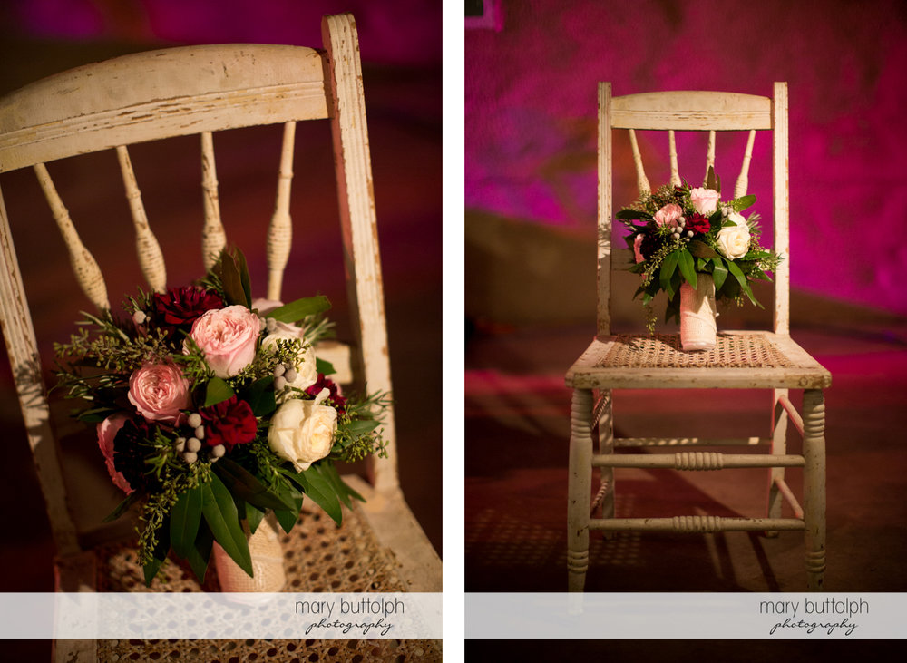 Two different shots of a bouquet on a chair at the Frog Pond Bed & Breakfast Wedding