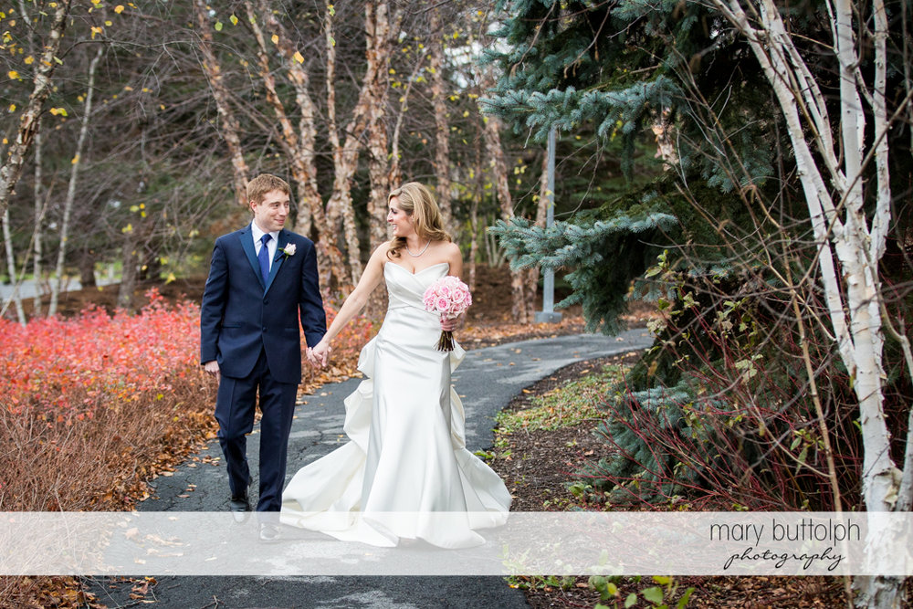Couple spend time in the woods at the Lodge at Welch Allyn Wedding