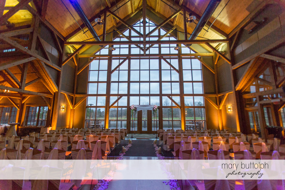 The couple's wedding venue at the Lodge at Welch Allyn Wedding