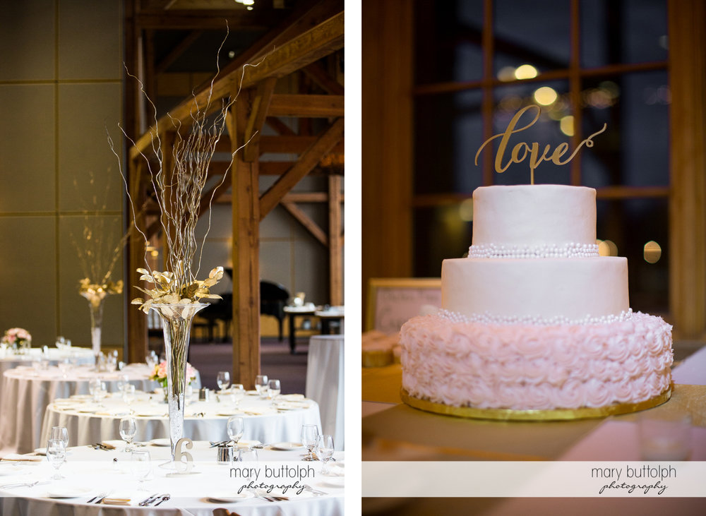 Tables with flowers and the couple's cake await guests at the Lodge at Welch Allyn Wedding