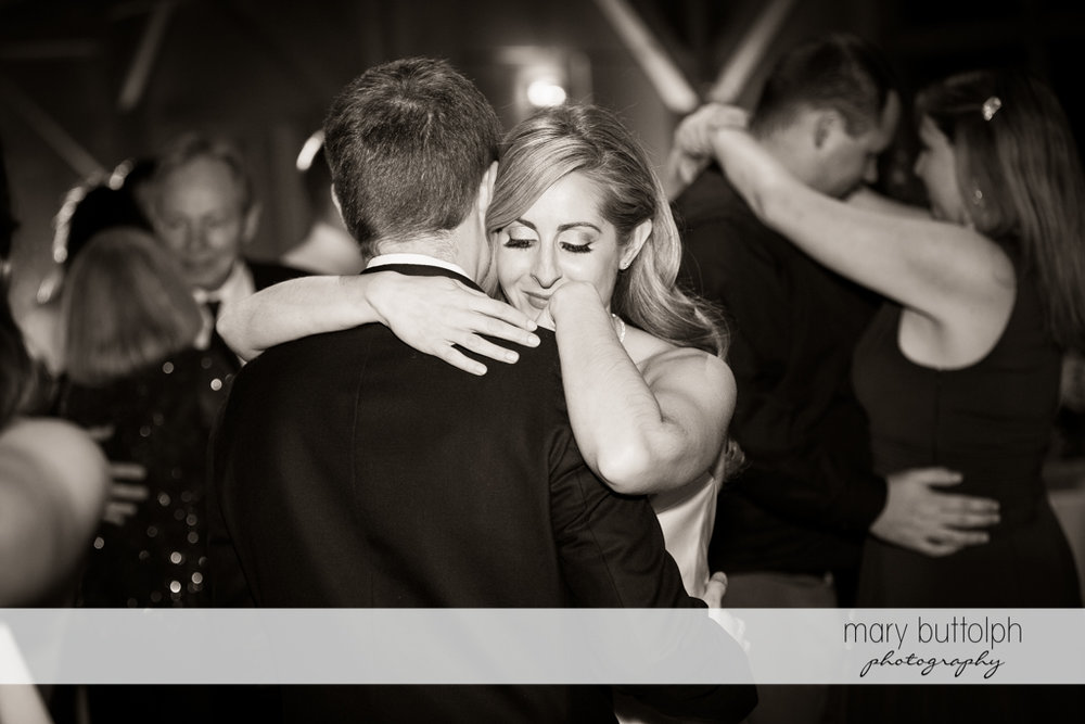 Guests join the dancing couple at the Lodge at Welch Allyn Wedding