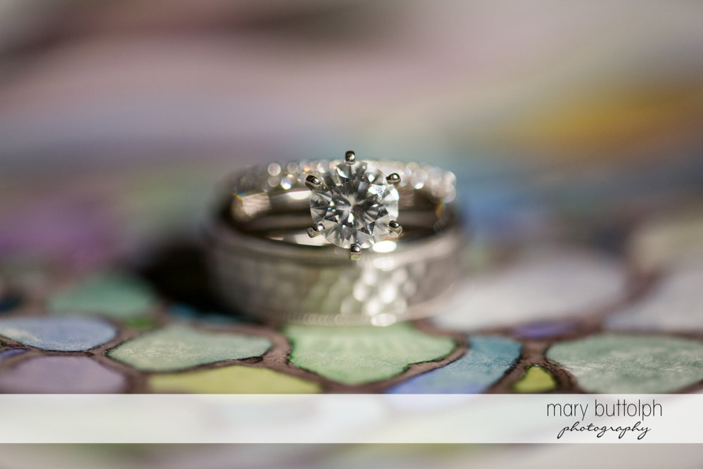 Close up shot of bride's wedding ring at the Lodge at Welch Allyn Wedding