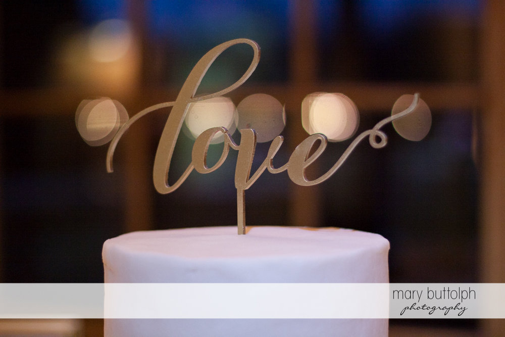 The cake topper says it all at the Lodge at Welch Allyn Wedding