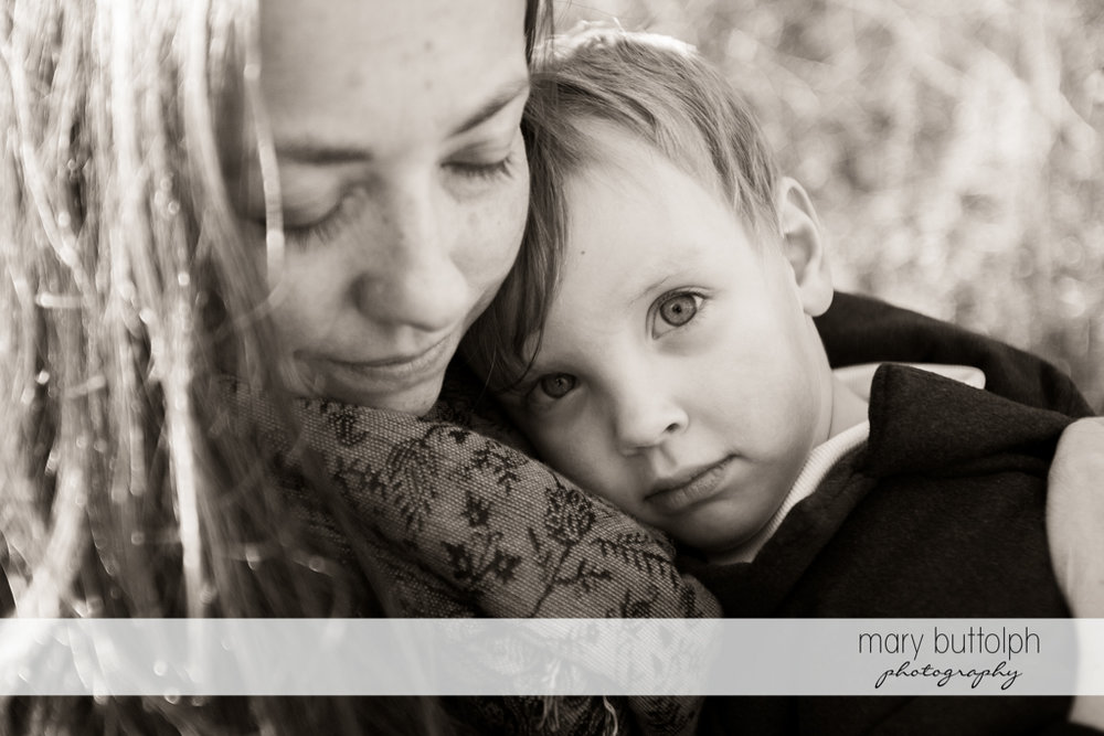 Woman and her son are captured in this beautiful black and white shot at Skaneateles