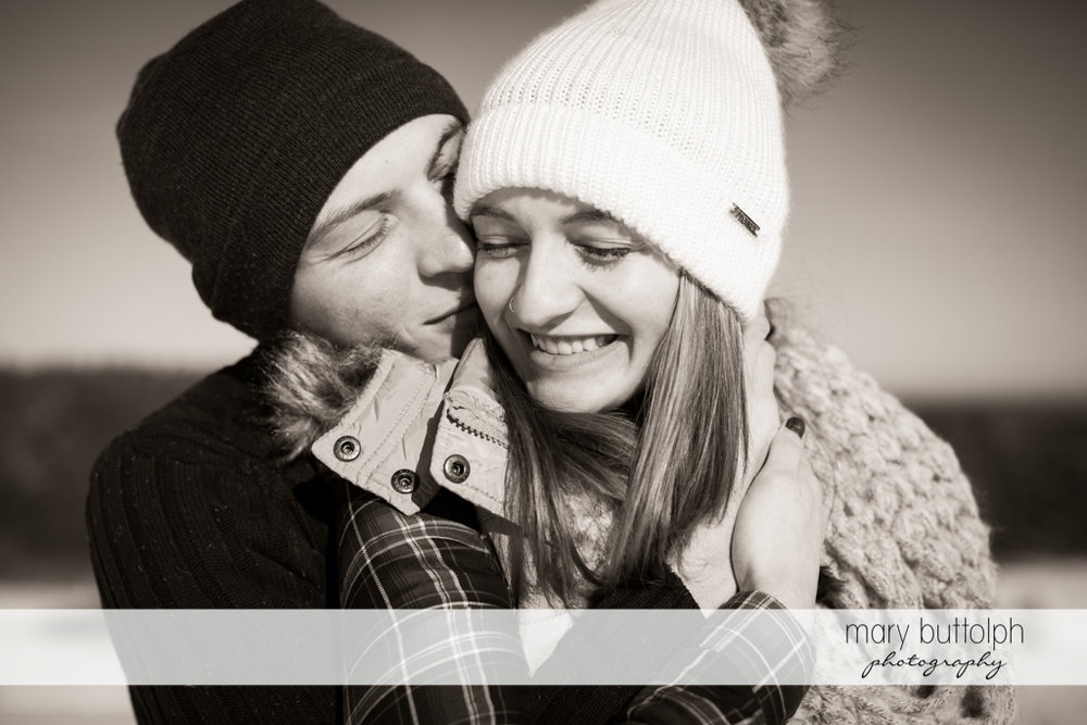 Couple captured in beautiful black and white shot at Green Lakes Engagement