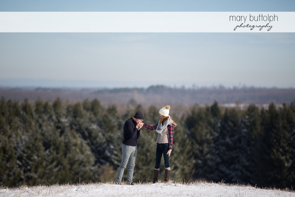 Couple in the middle of the forest at Green Lakes Engagement