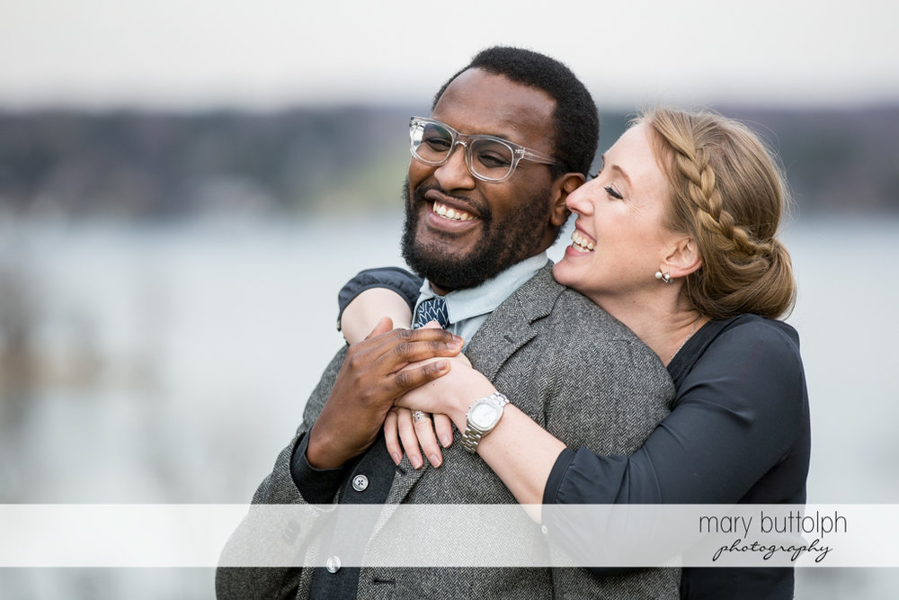 Couple in good mood at Skaneateles Engagement