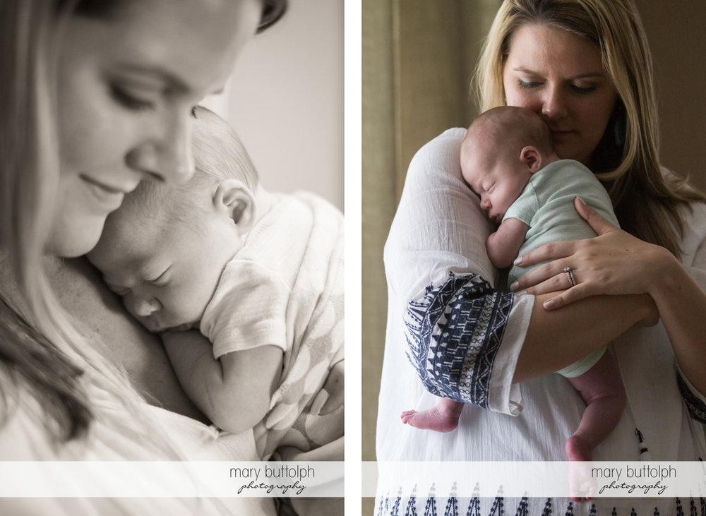 Mother puts her baby to sleep at Syracuse Newborn