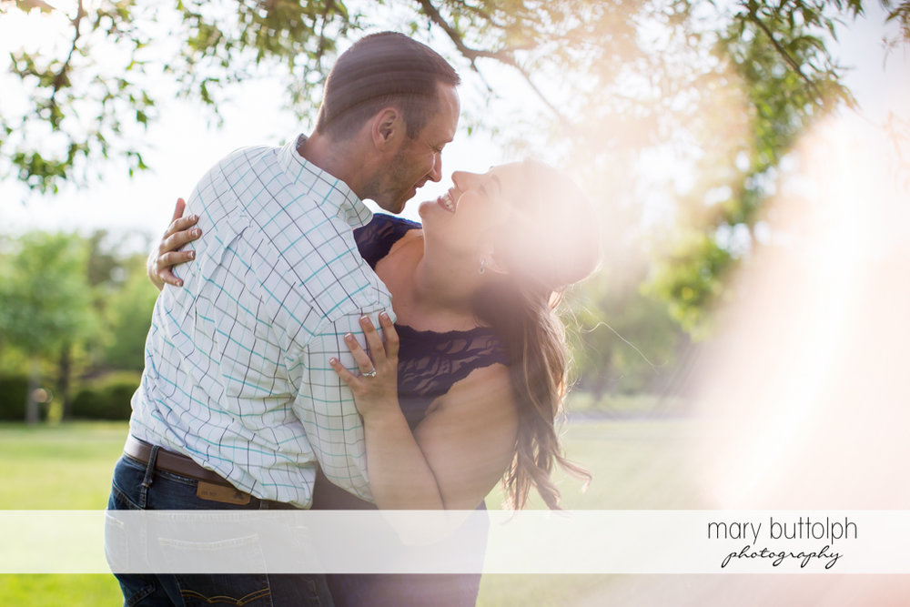 Couple bask in the sun at Emerson Park Engagement